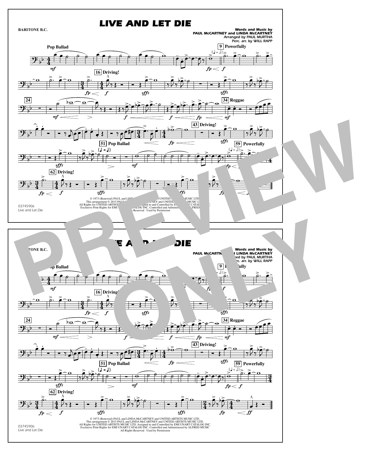 Live and Let Die - Baritone B.C. (Marching Band)