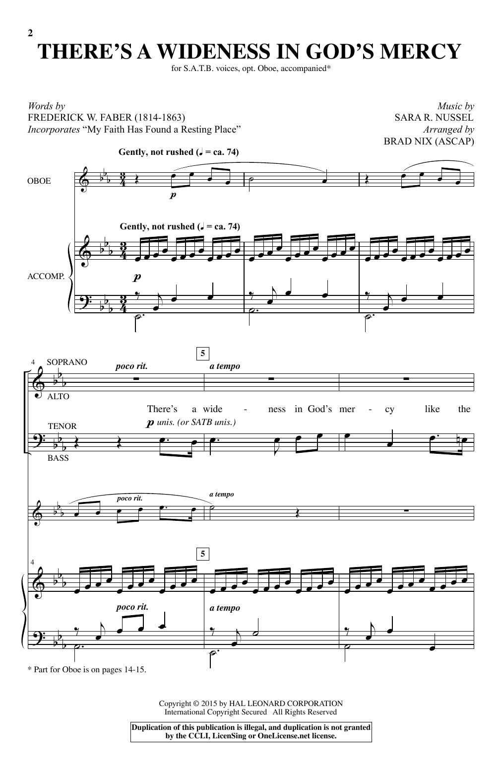 There's A Wideness In God's Mercy (arr. Brad Nix) Sheet Music