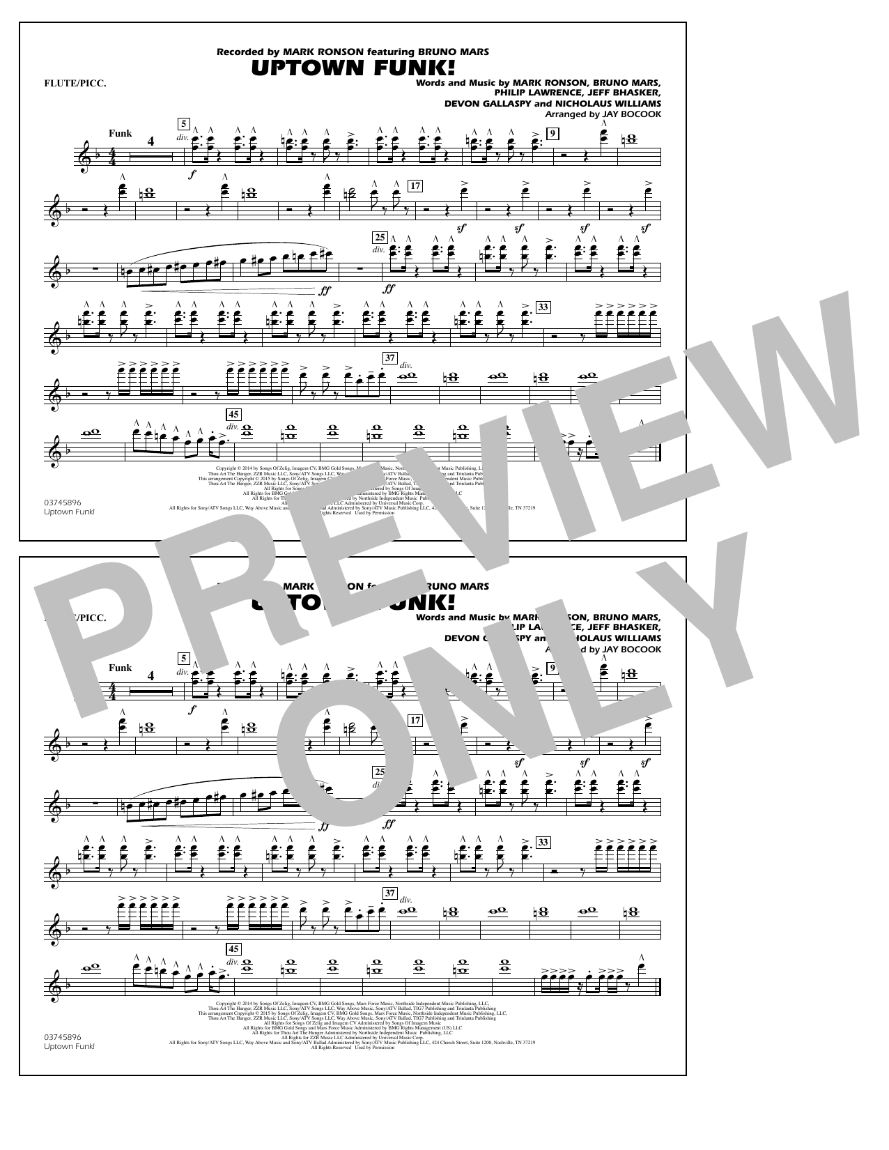 Uptown Funk Flutepiccolo Marching Band Print Sheet Music Now