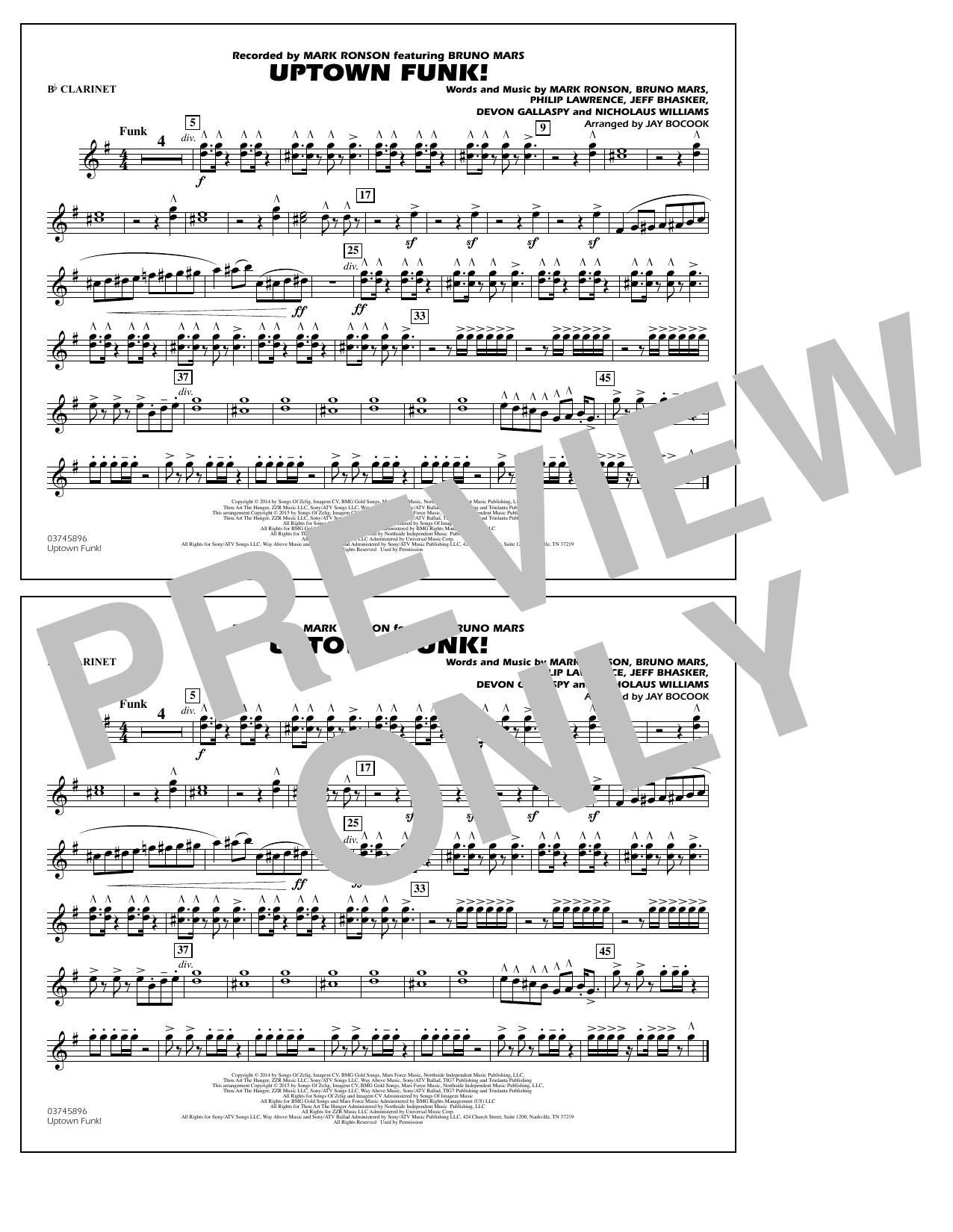 Uptown Funk! - Bb Clarinet (Marching Band)