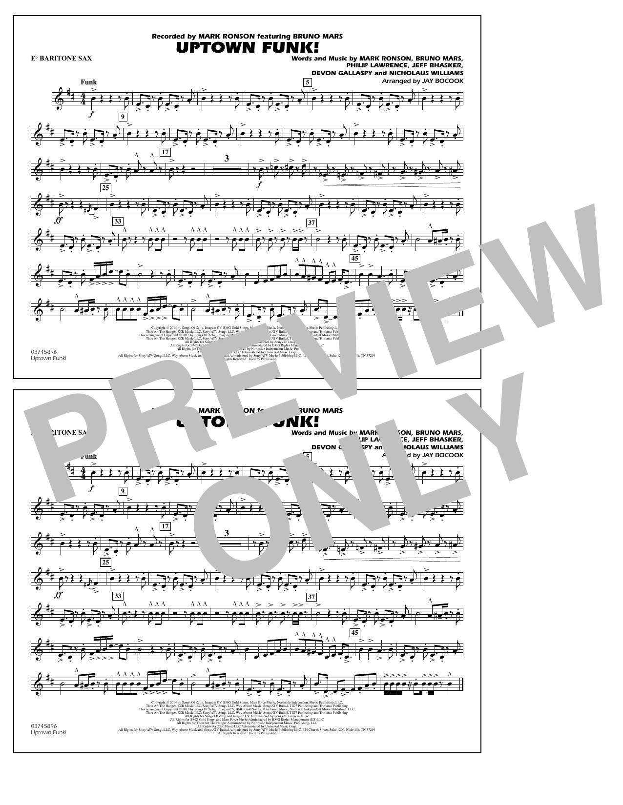 Uptown Funk! - Eb Baritone Sax (Marching Band)