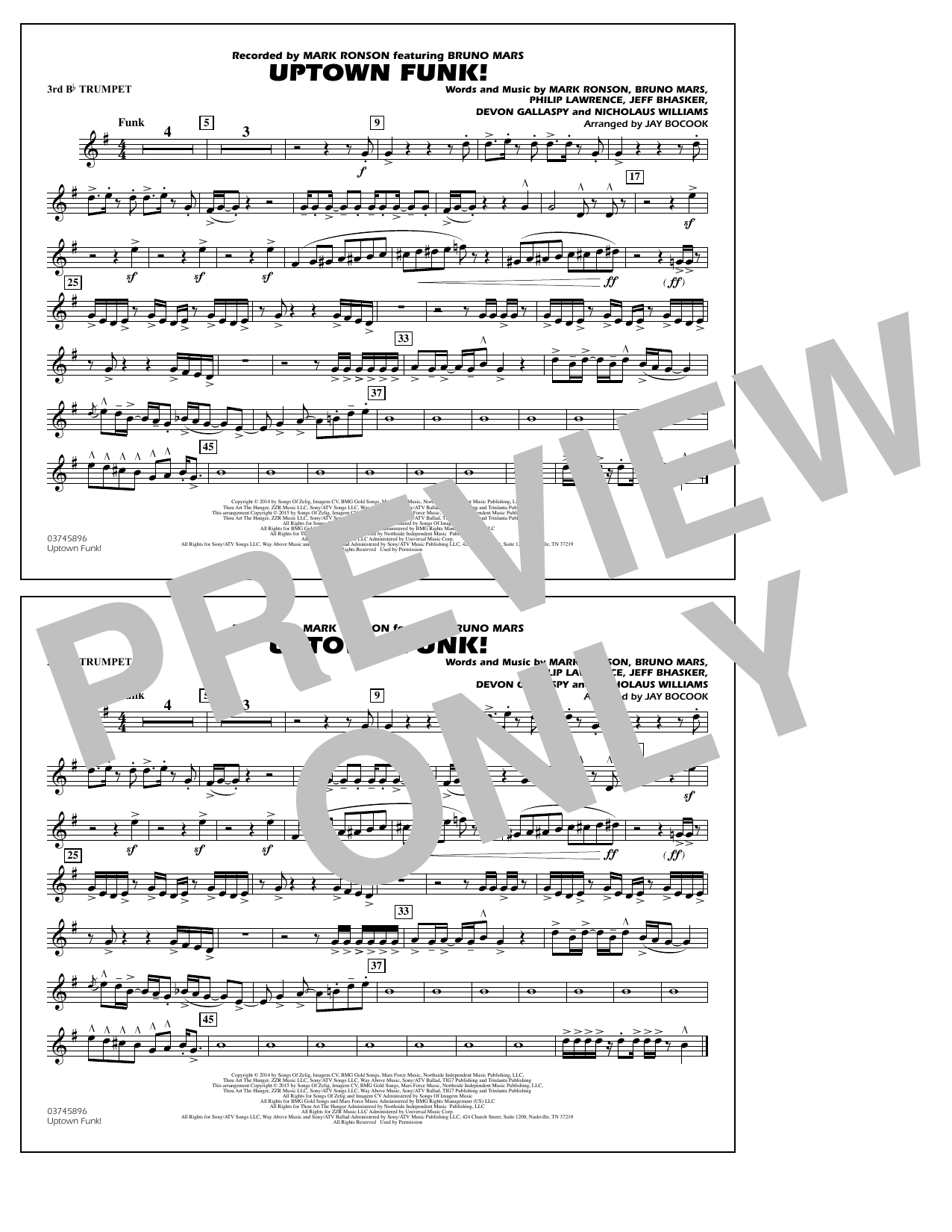 Uptown Funk! - 3rd Bb Trumpet (Marching Band)