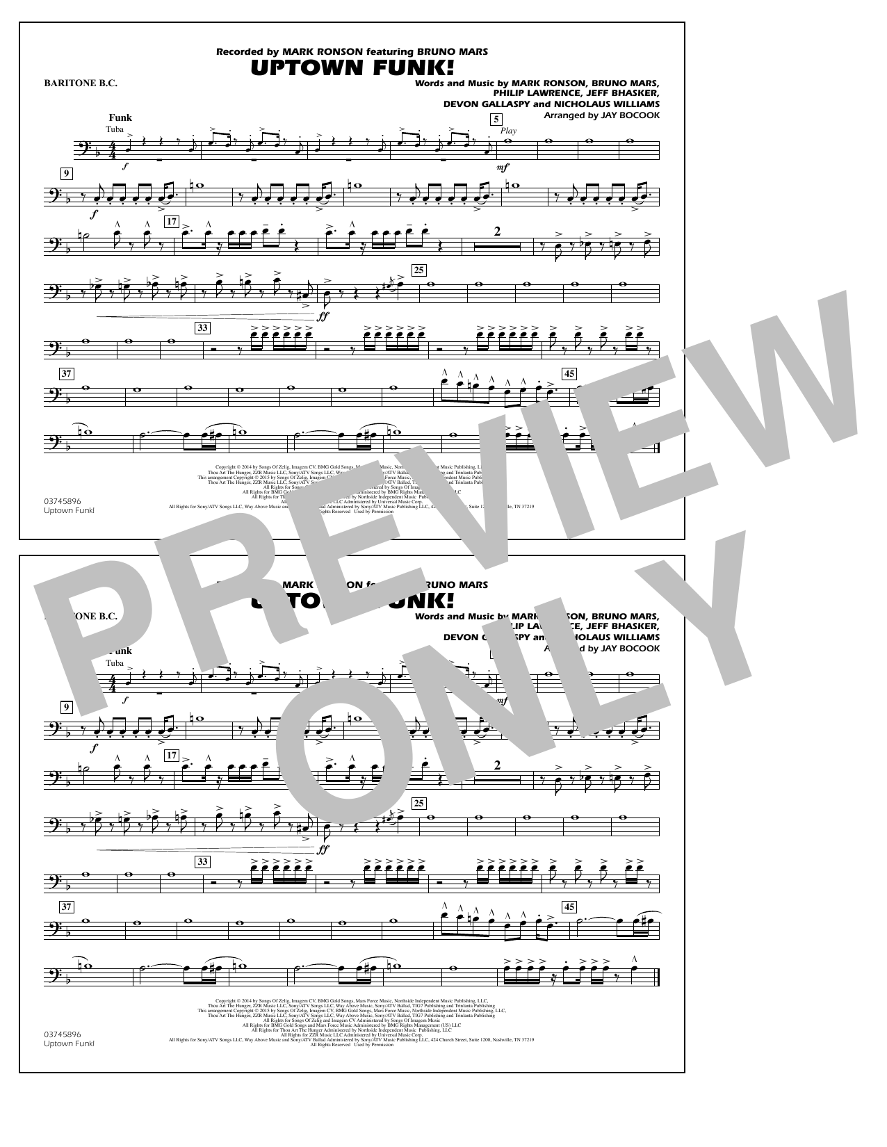 Uptown Funk! - Baritone B.C. (Marching Band)
