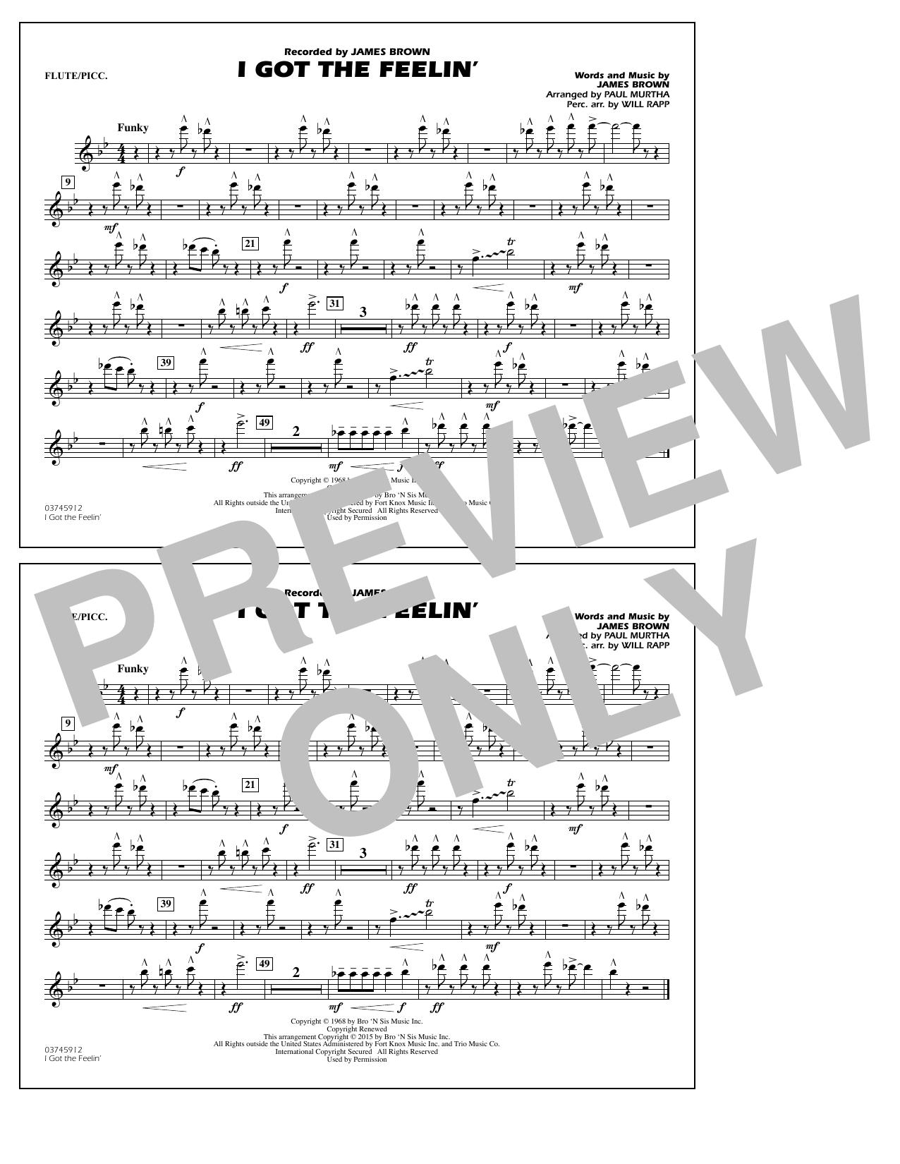 I Got the Feelin' - Flute/Piccolo (Marching Band)