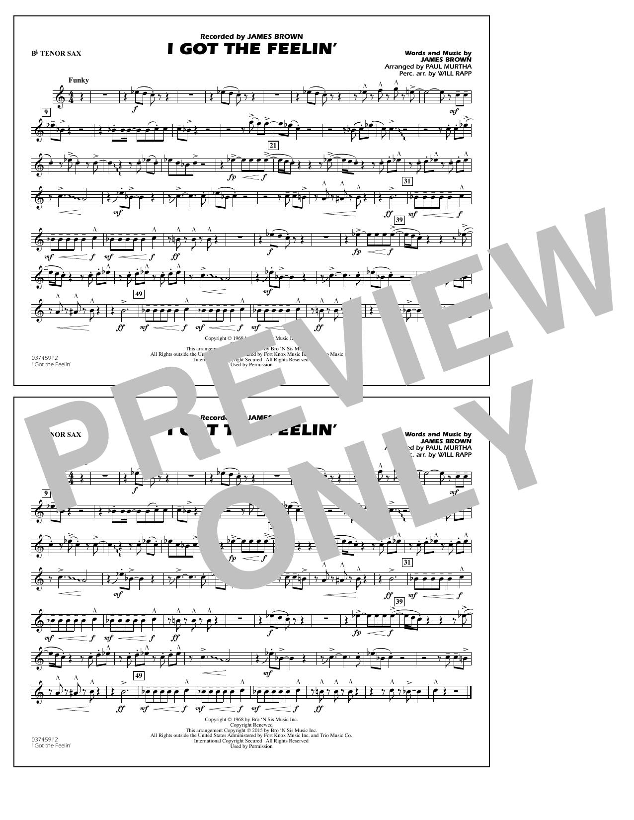 I Got the Feelin' - Bb Tenor Sax (Marching Band)