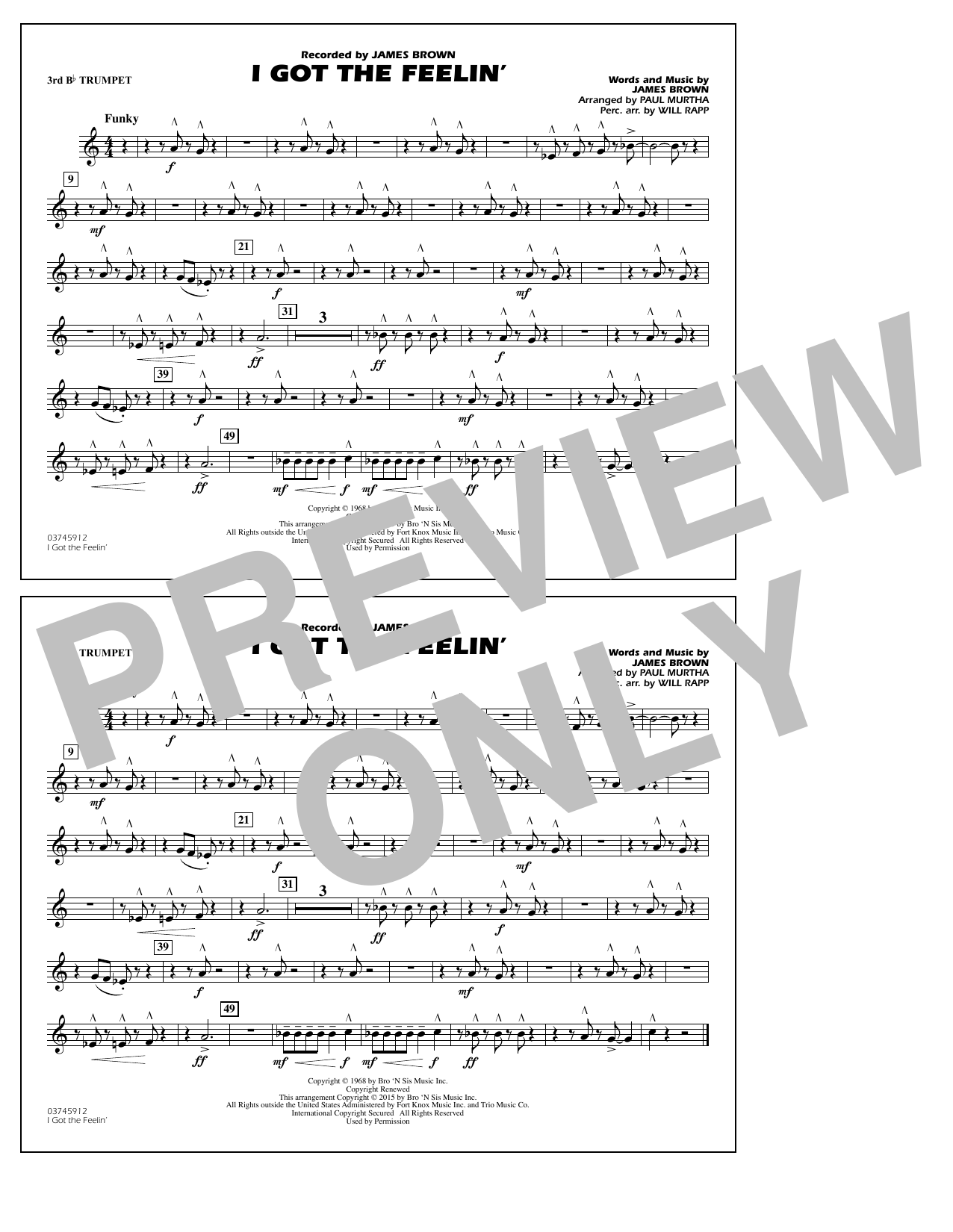 I Got the Feelin' - 3rd Bb Trumpet (Marching Band)