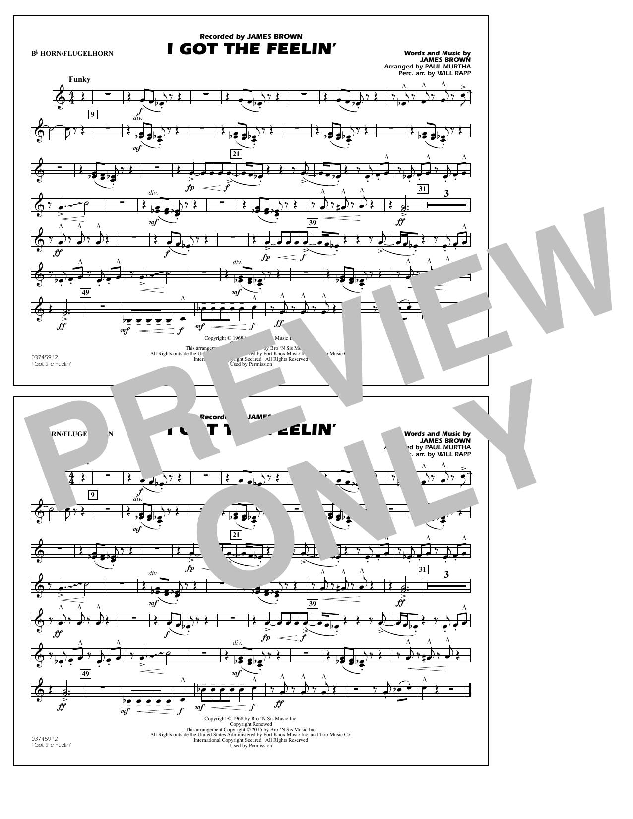 I Got the Feelin' - Bb Horn/Flugelhorn (Marching Band)