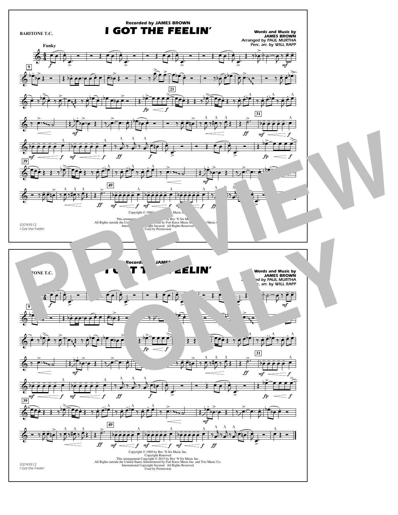 I Got the Feelin' - Baritone T.C. (Marching Band)