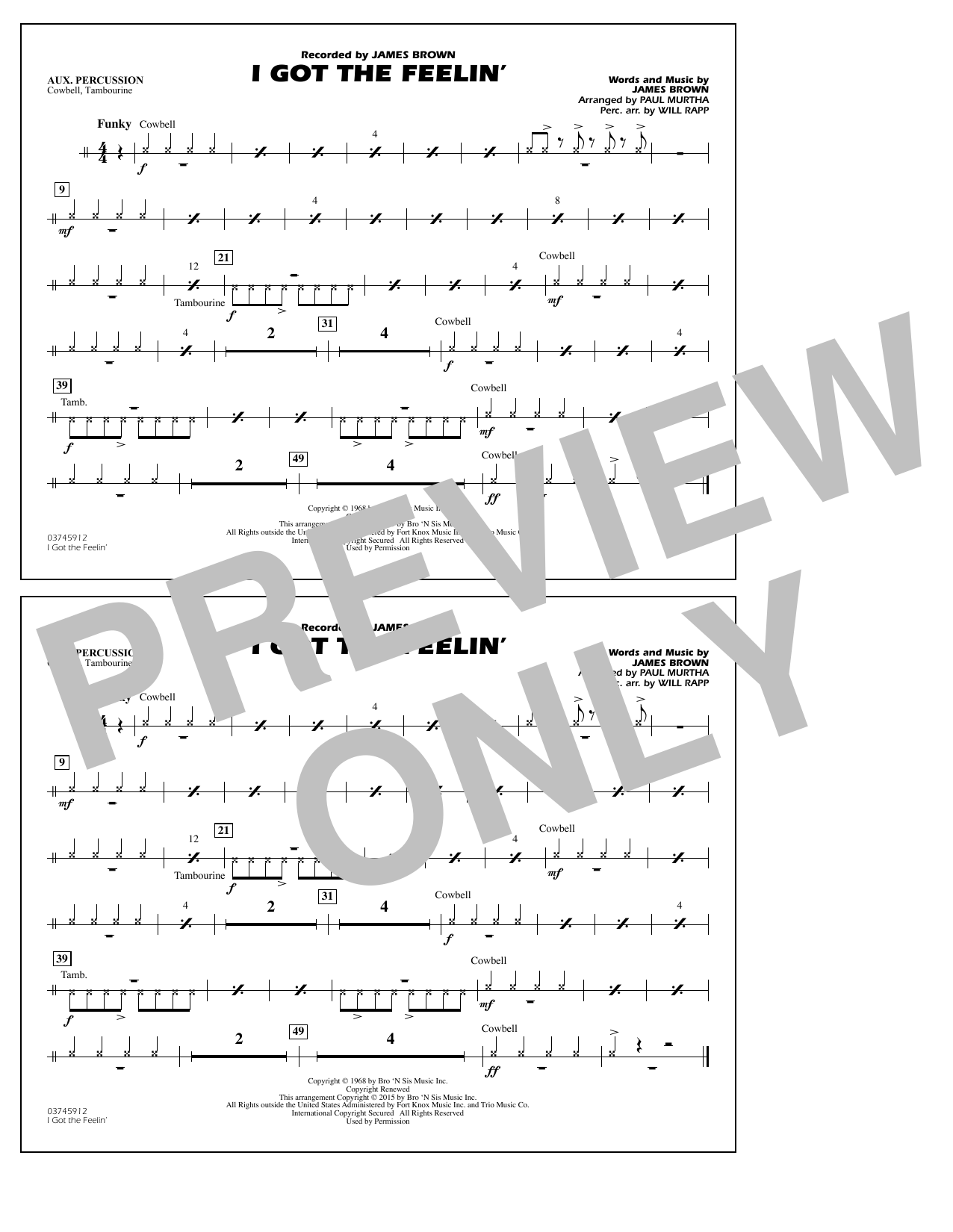 I Got the Feelin' - Aux Percussion (Marching Band)