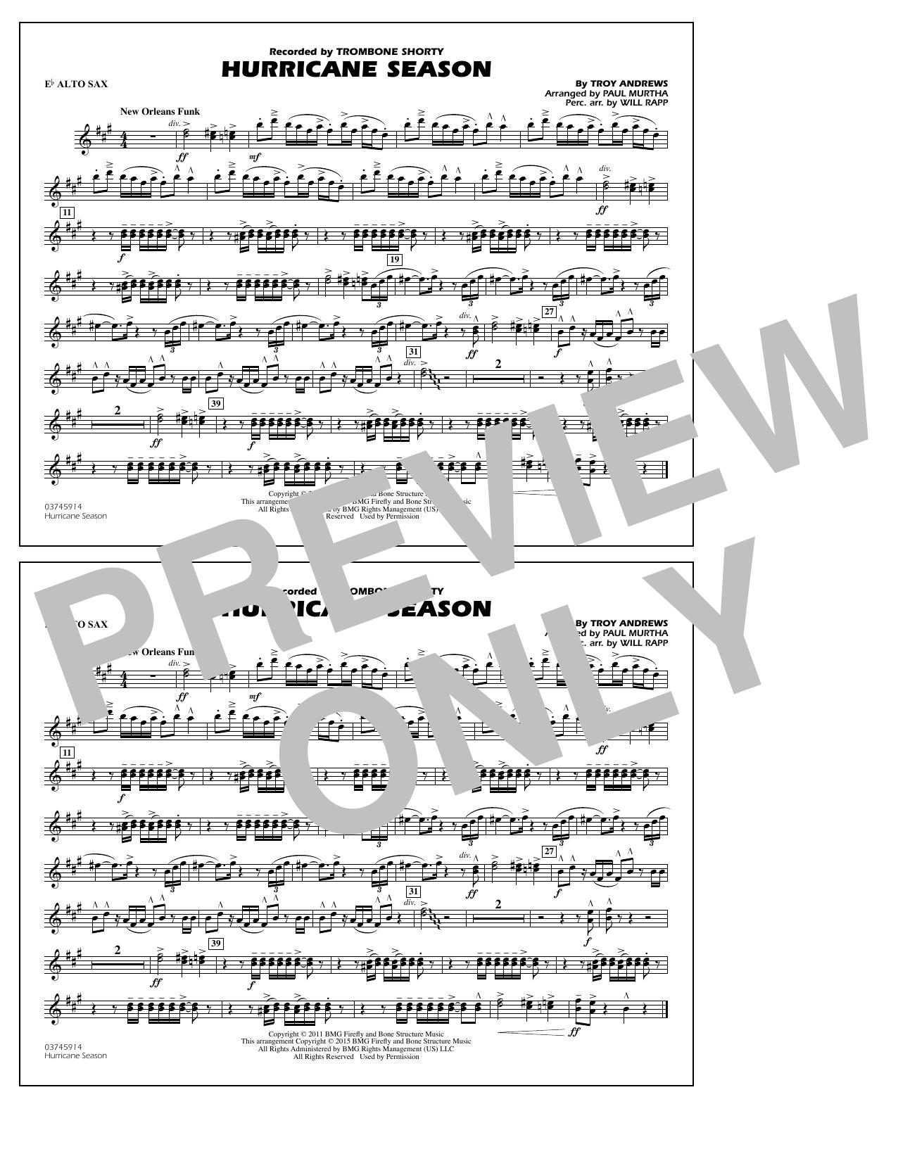 Hurricane Season - Eb Alto Sax (Marching Band)