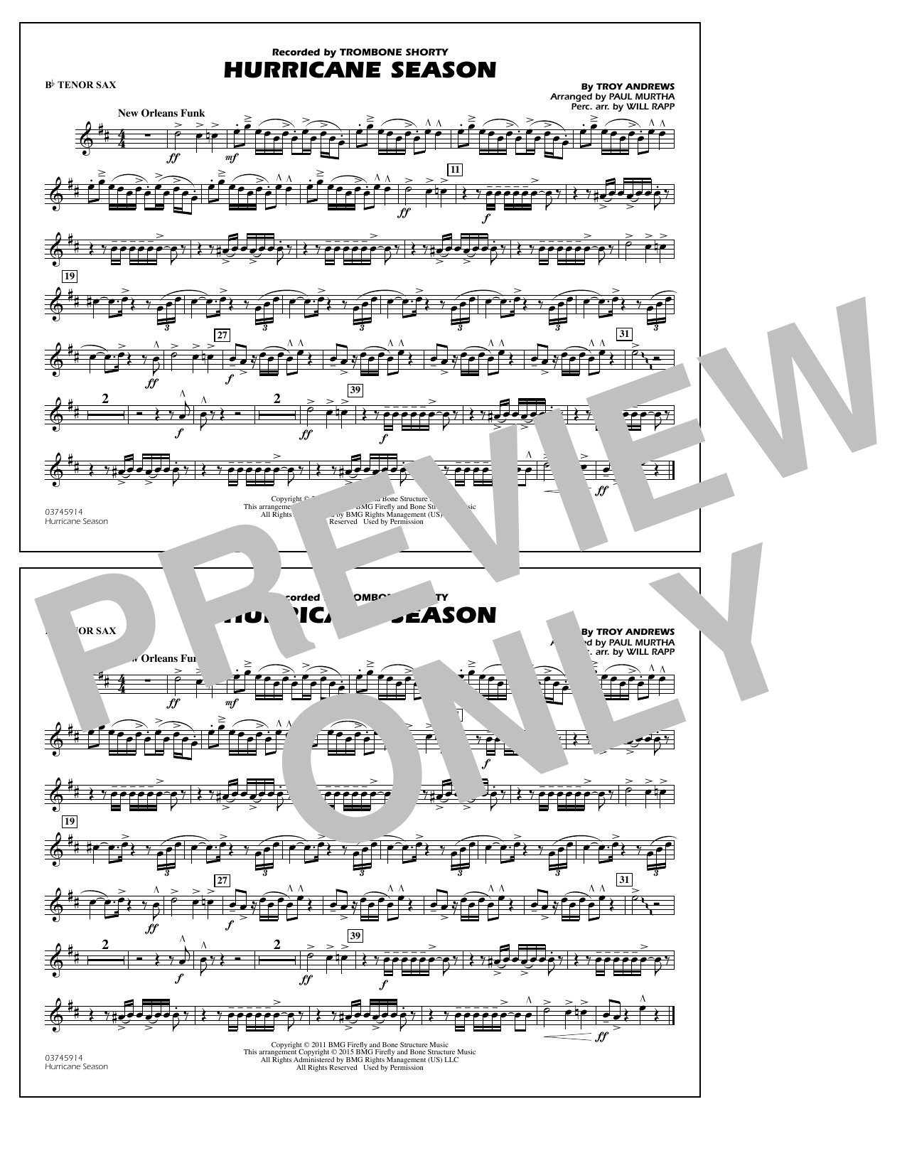 Hurricane Season - Bb Tenor Sax (Marching Band)