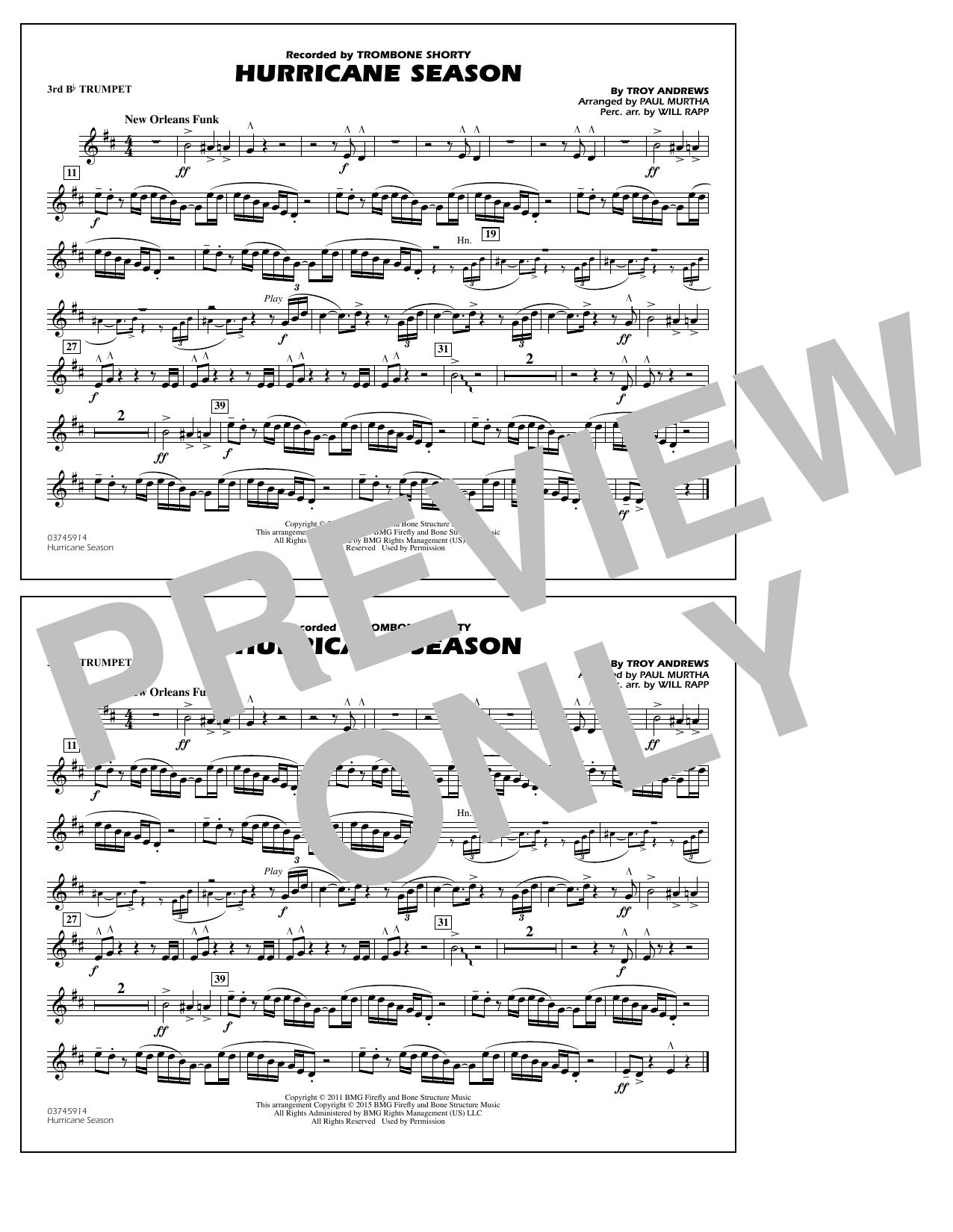 Hurricane Season - 3rd Bb Trumpet (Marching Band)