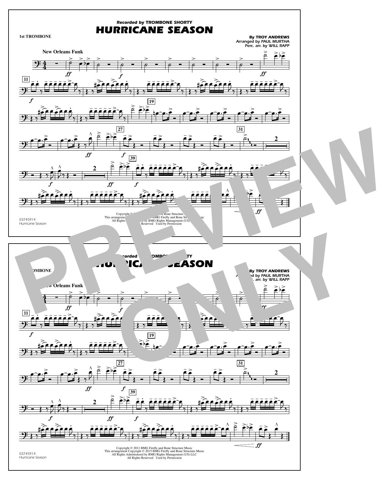 Hurricane Season - 1st Trombone (Marching Band)