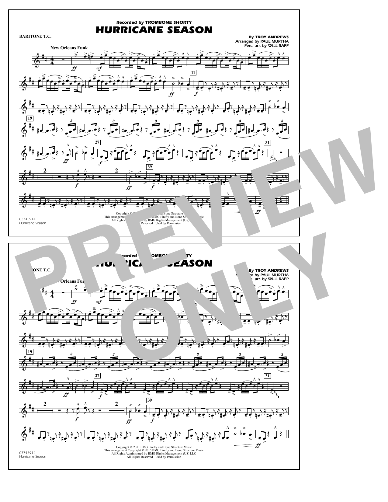 Hurricane Season - Baritone T.C. (Marching Band)