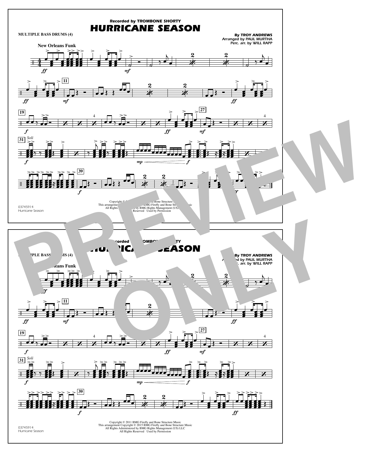 Hurricane Season - Multiple Bass Drums (Marching Band)