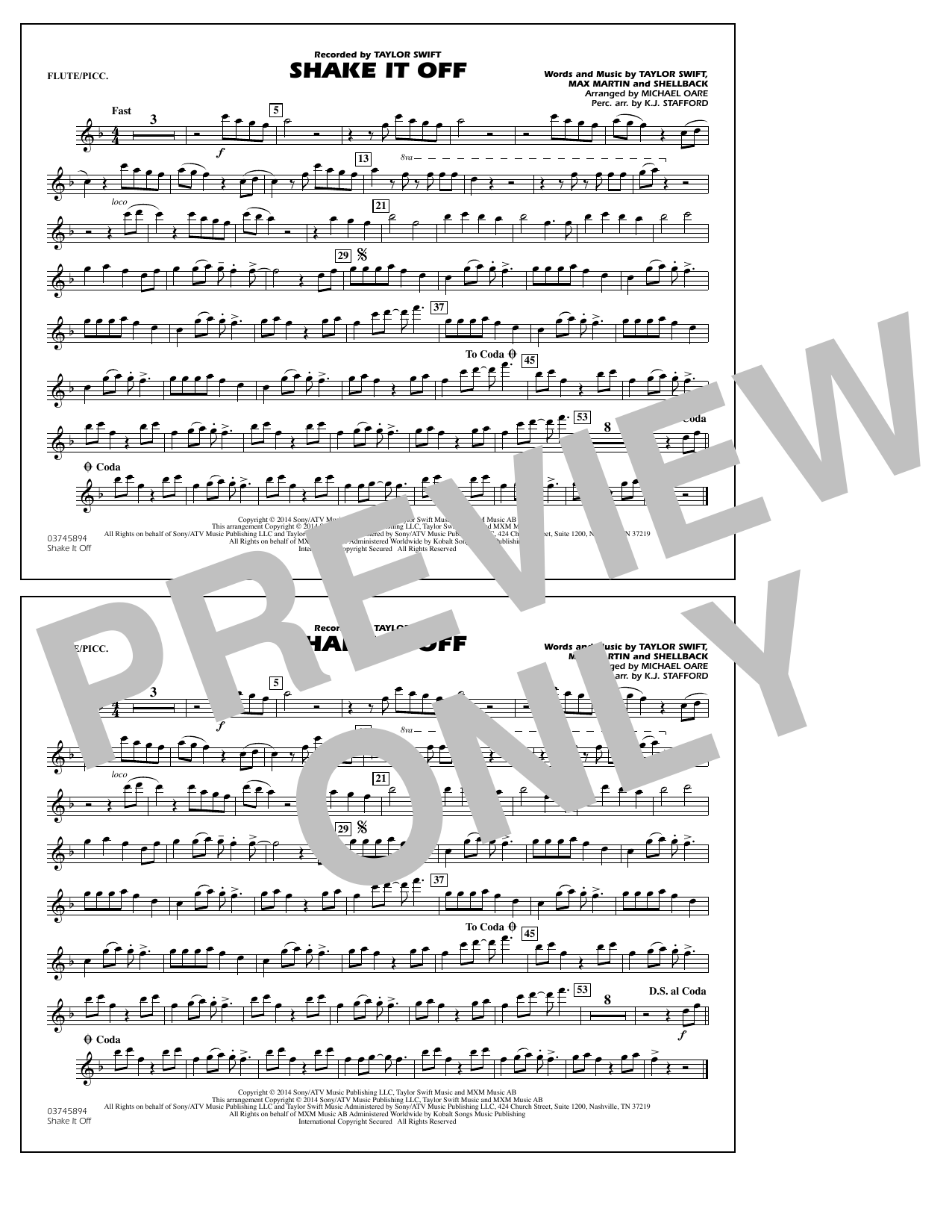 Shake It Off - Flute/Piccolo (Marching Band)