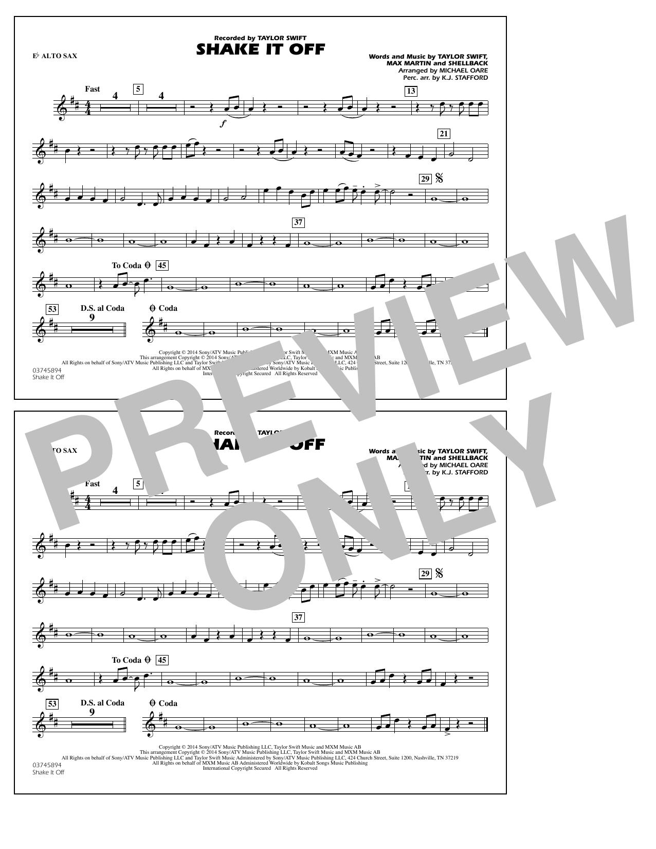 Shake It Off - Eb Alto Sax (Marching Band)