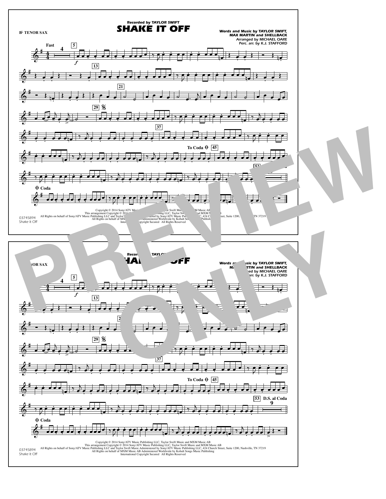 Shake It Off - Bb Tenor Sax (Marching Band)