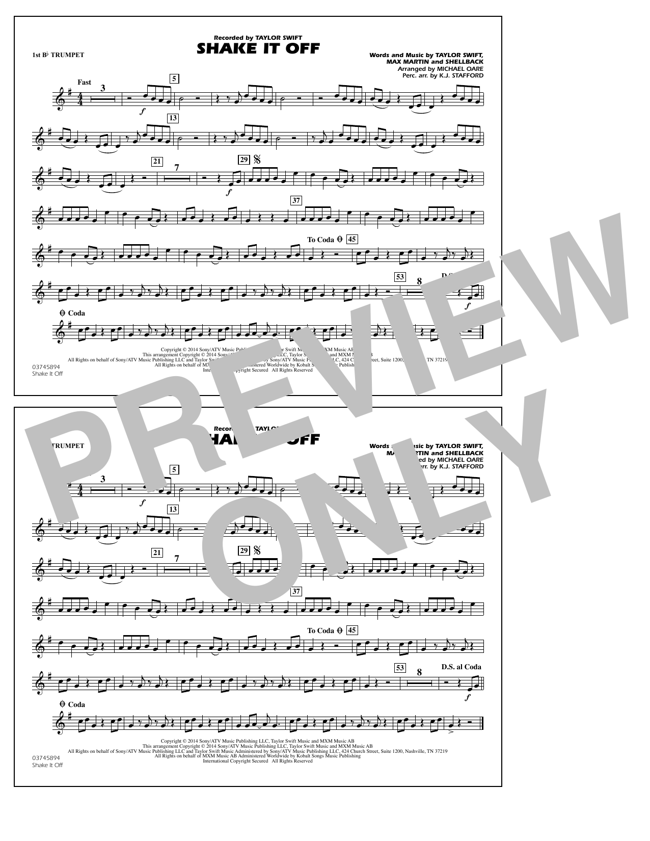 Shake It Off - 1st Bb Trumpet (Marching Band)