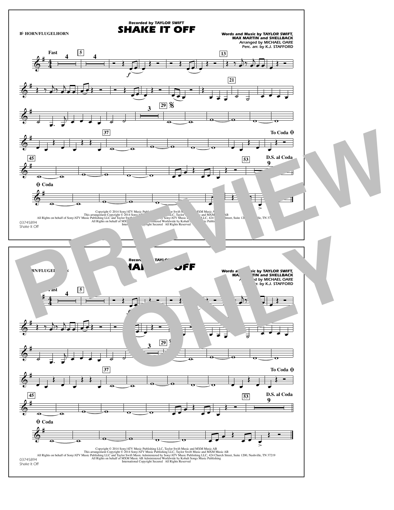 Shake It Off - Bb Horn/3rd Bb Tpt (Marching Band)