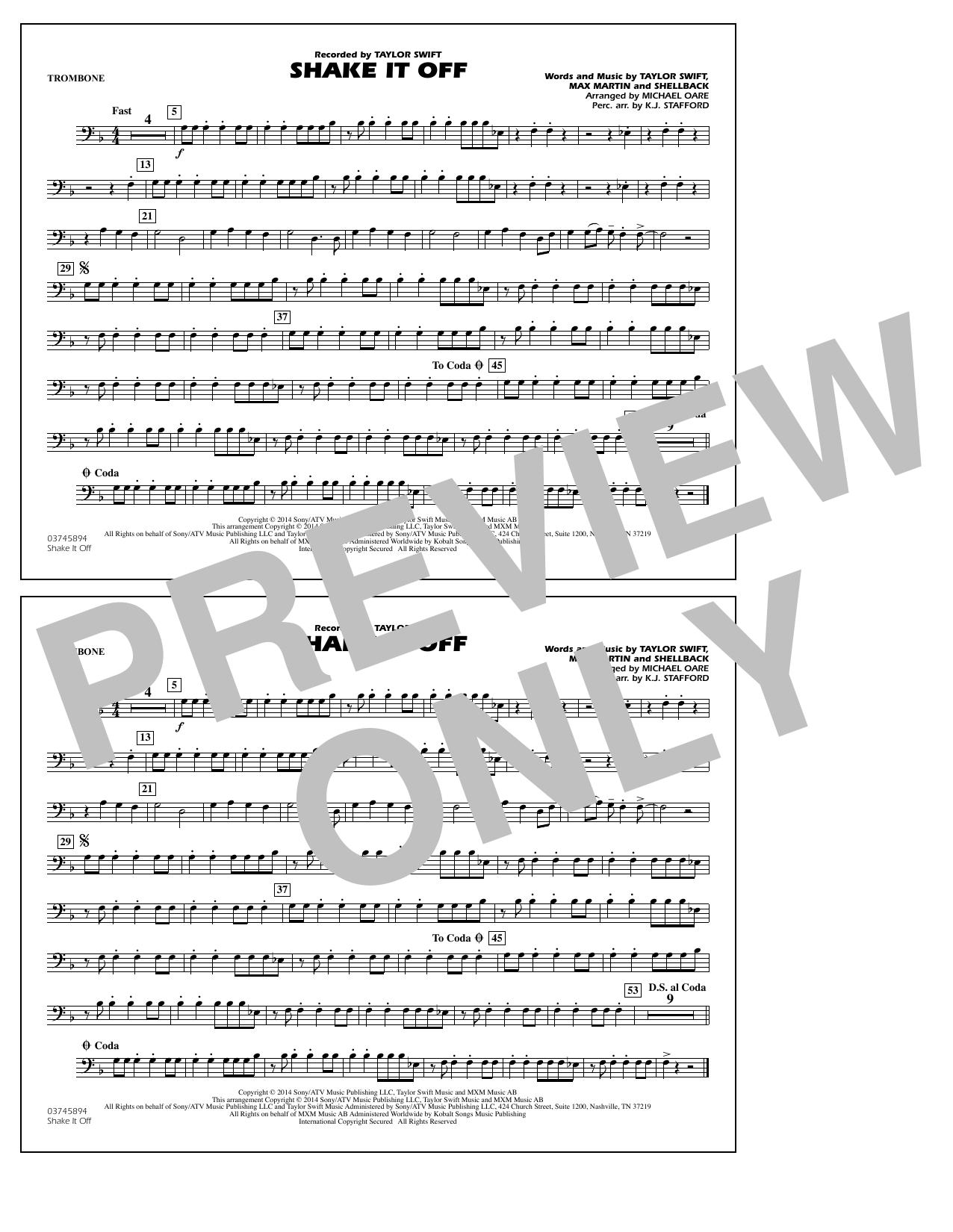 Shake It Off - Trombone (Marching Band)