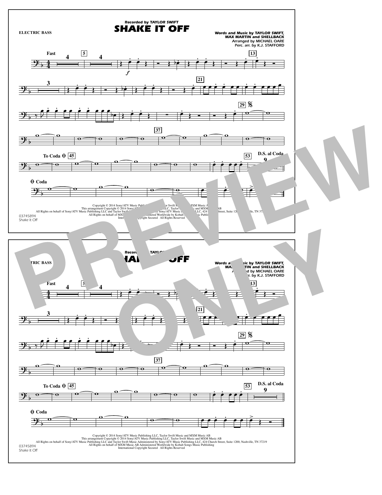 Shake It Off - Electric Bass (Marching Band)