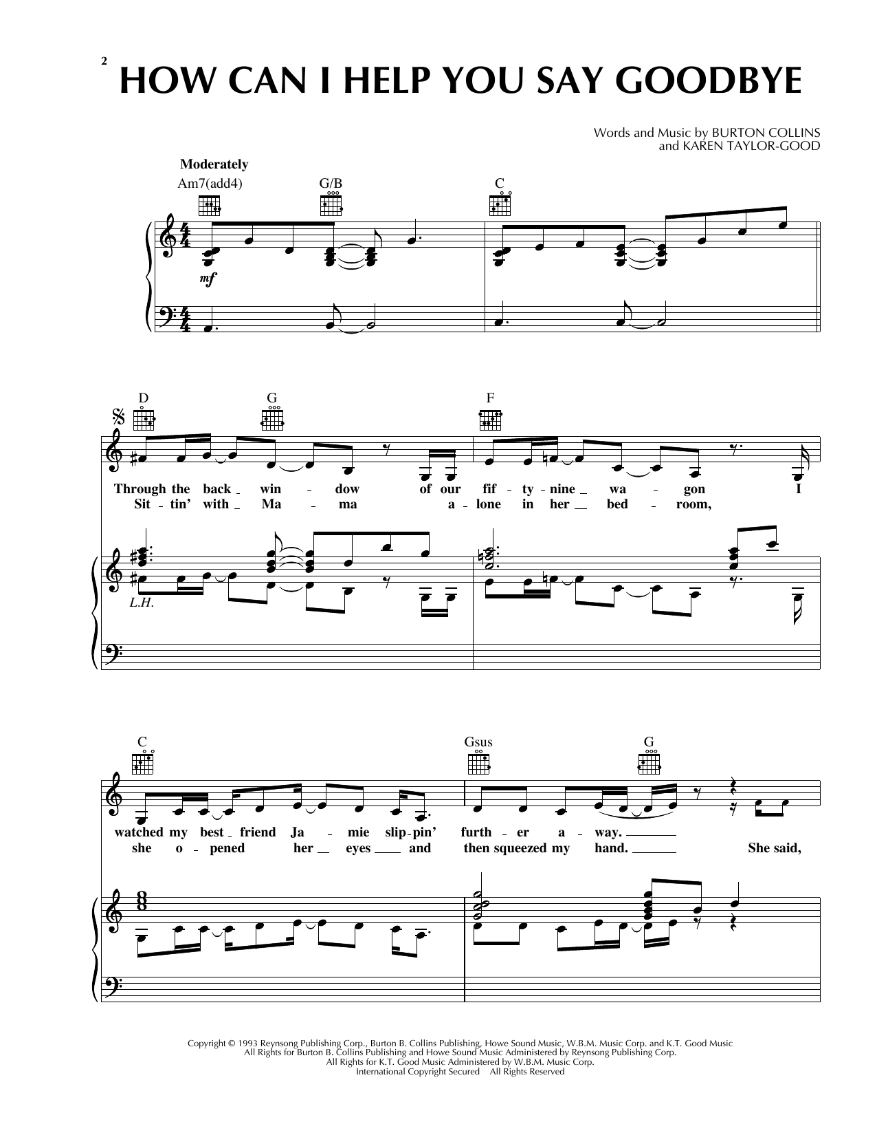 How Can I Help You Say Goodbye Sheet Music