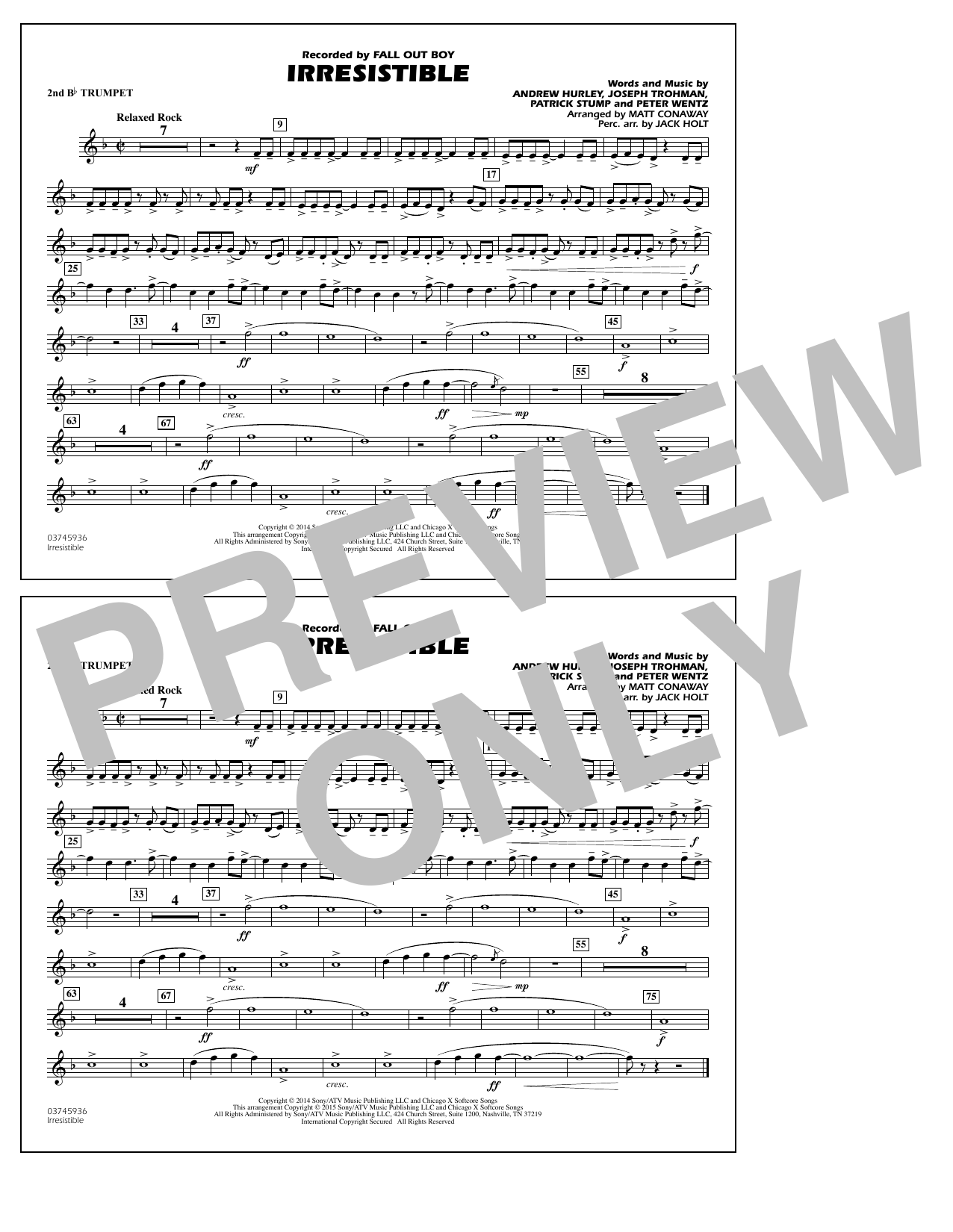 Irresistible - 2nd Bb Trumpet (Marching Band)