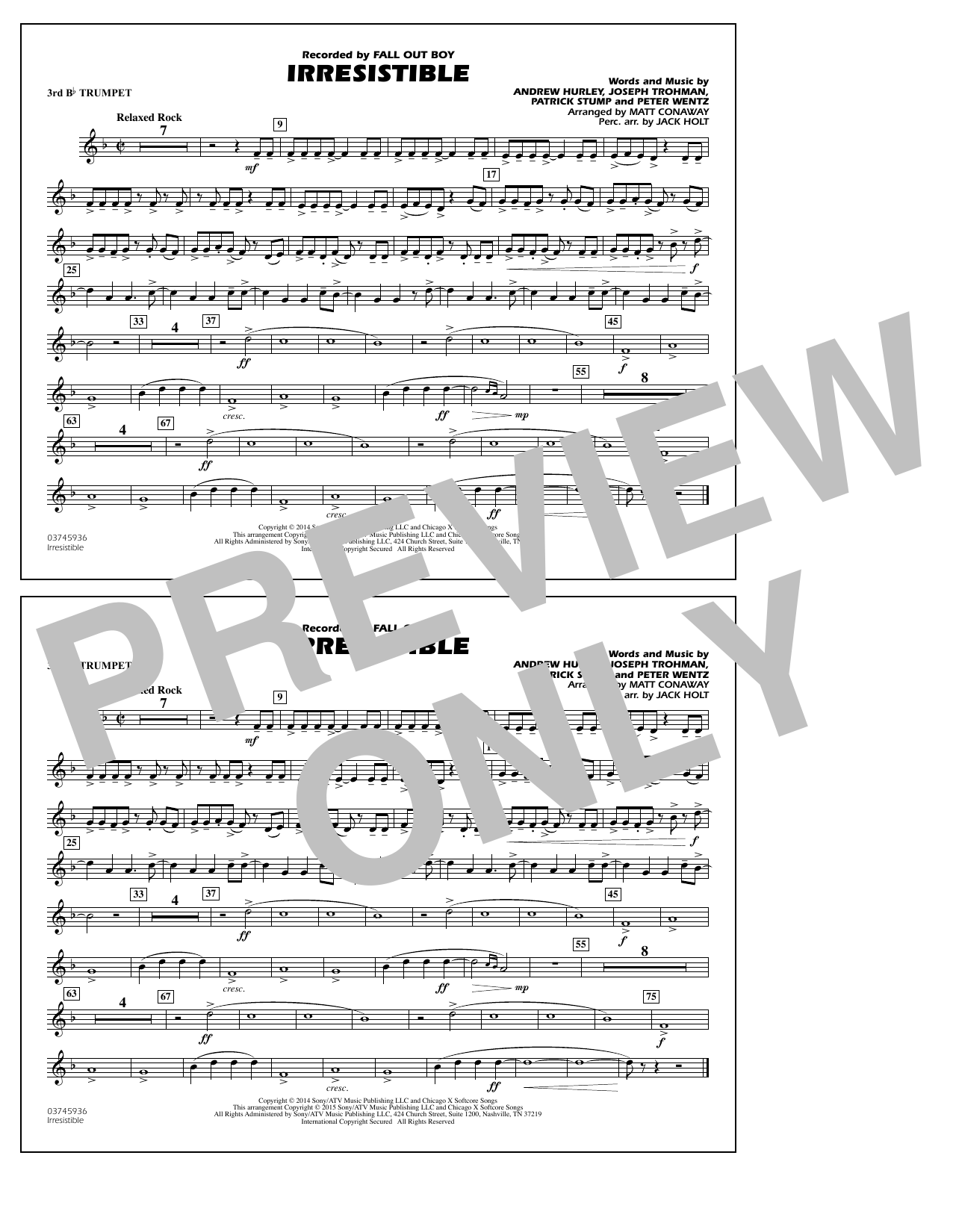 Irresistible - 3rd Bb Trumpet (Marching Band)