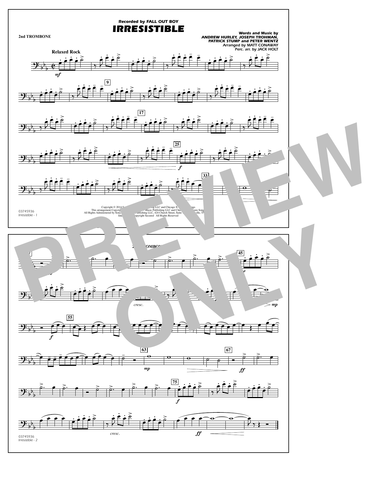 Irresistible - 2nd Trombone (Marching Band)