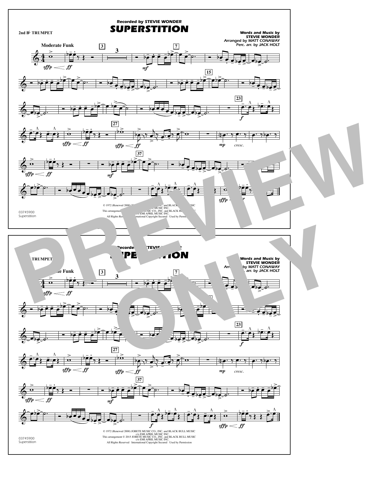 Superstition - 2nd Bb Trumpet (Marching Band)