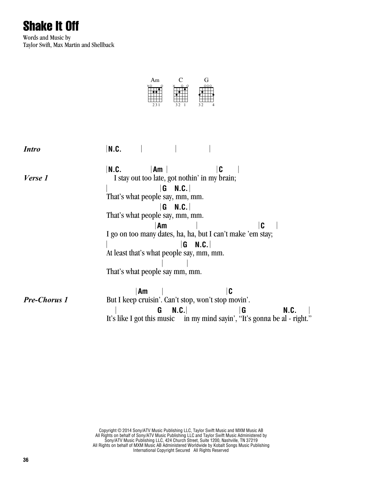 Shake It Off (Guitar Chords/Lyrics)