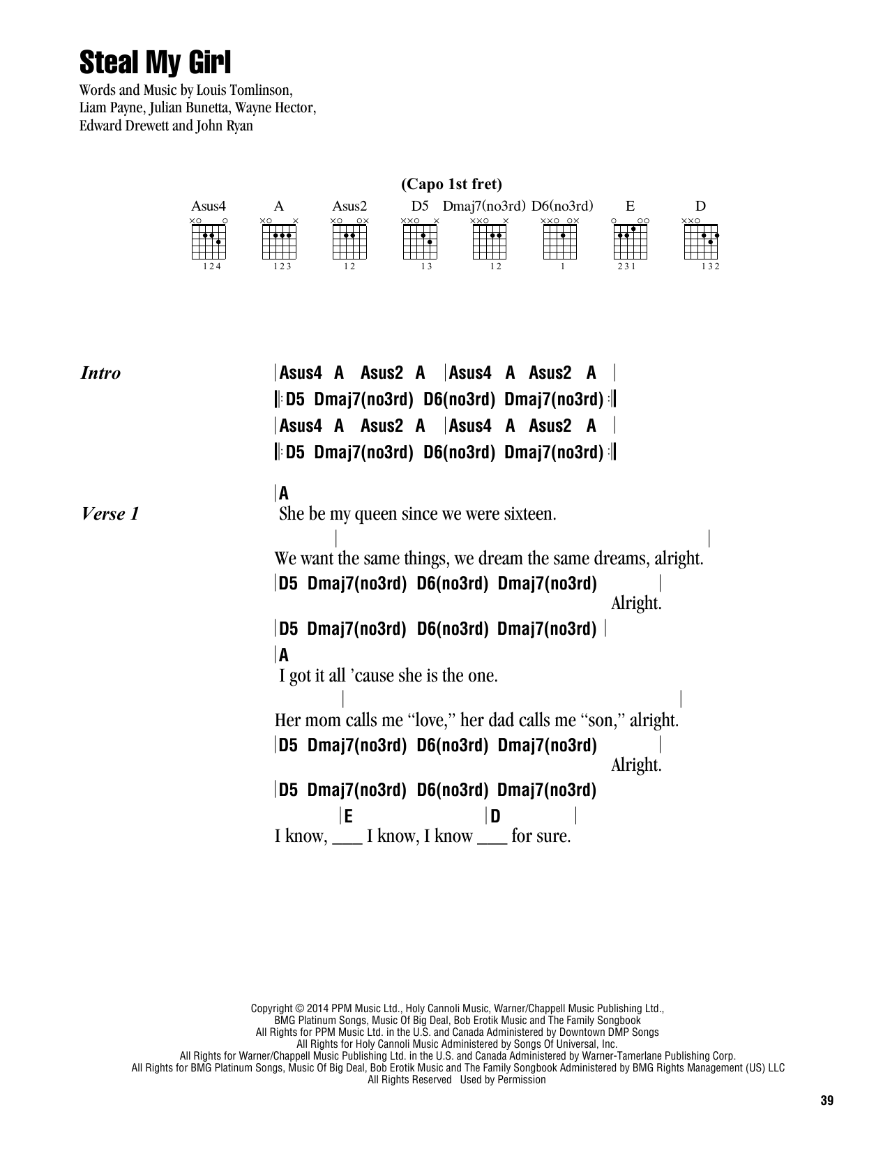 Steal My Girl (Guitar Chords/Lyrics)