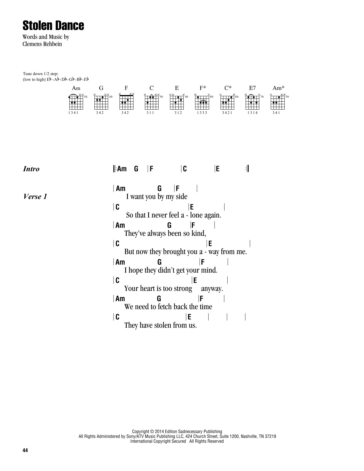 Stolen Dance Sheet Music By Milky Chance Lyrics Chords 163403