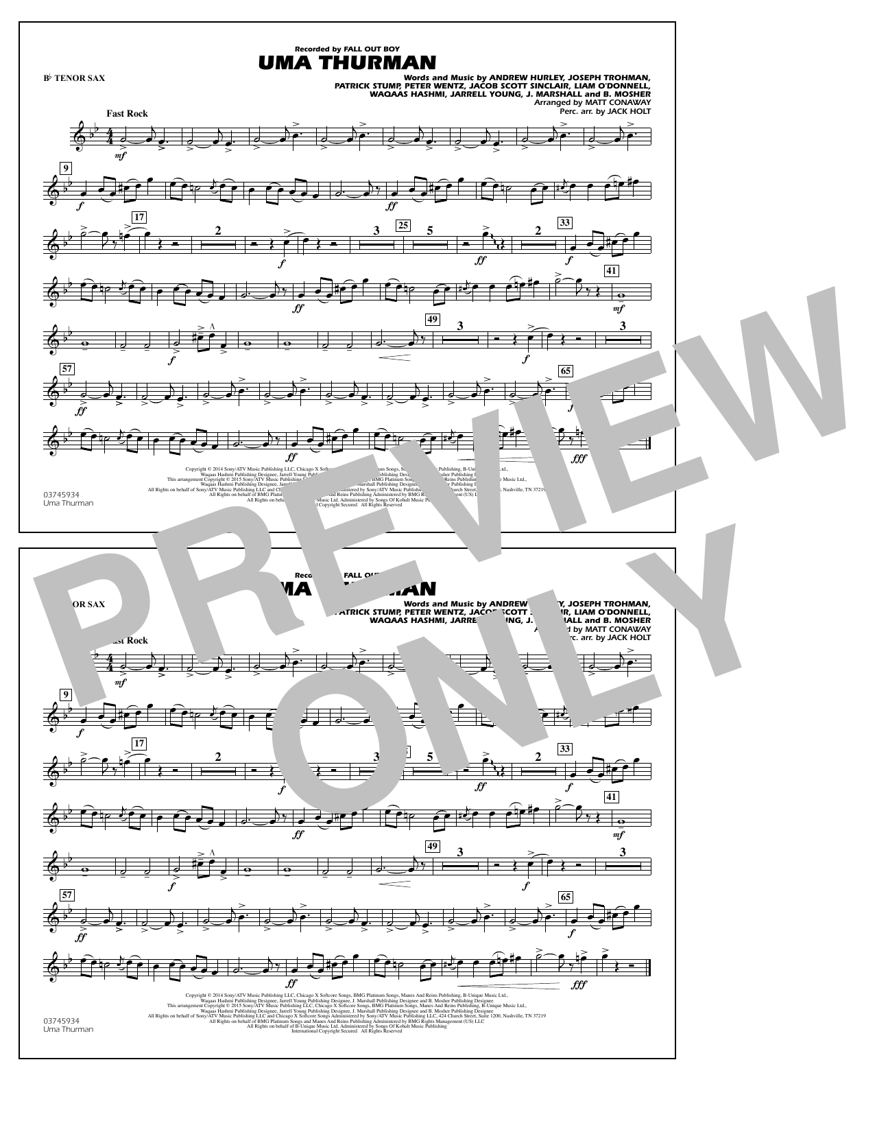 Uma Thurman - Bb Tenor Sax (Marching Band)