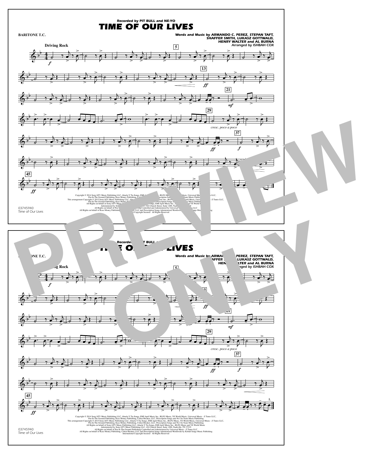 Time of Our Lives - Baritone T.C. (Marching Band)