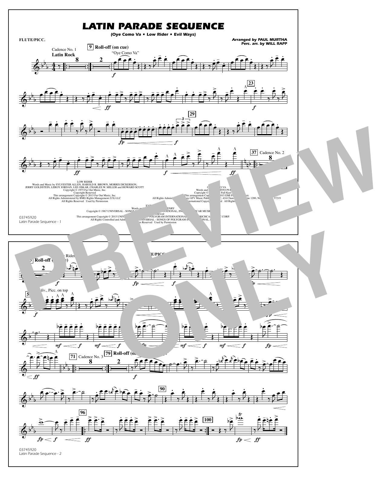 Latin Parade Sequence - Flute/Piccolo (Marching Band)