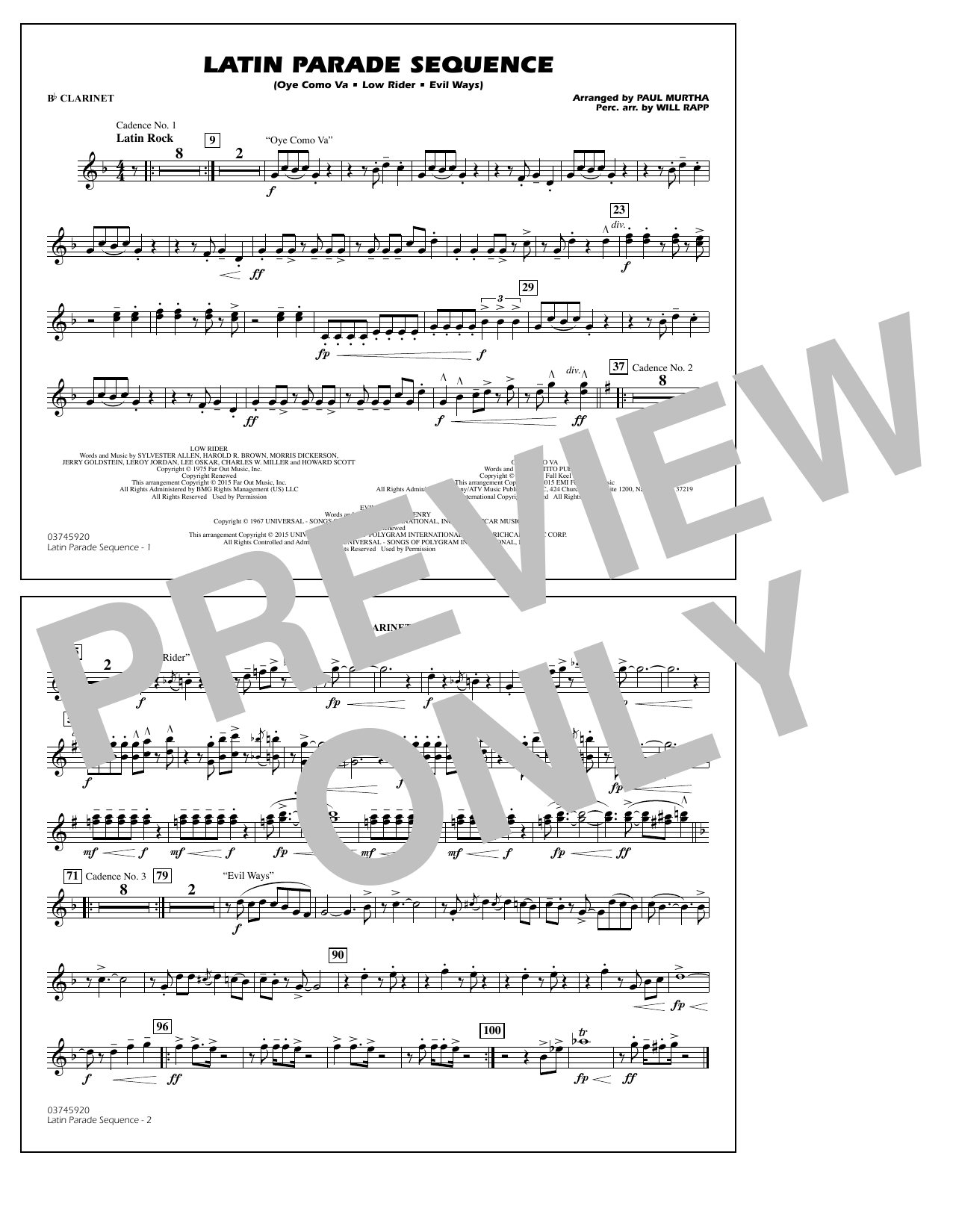 Latin Parade Sequence - Bb Clarinet (Marching Band)