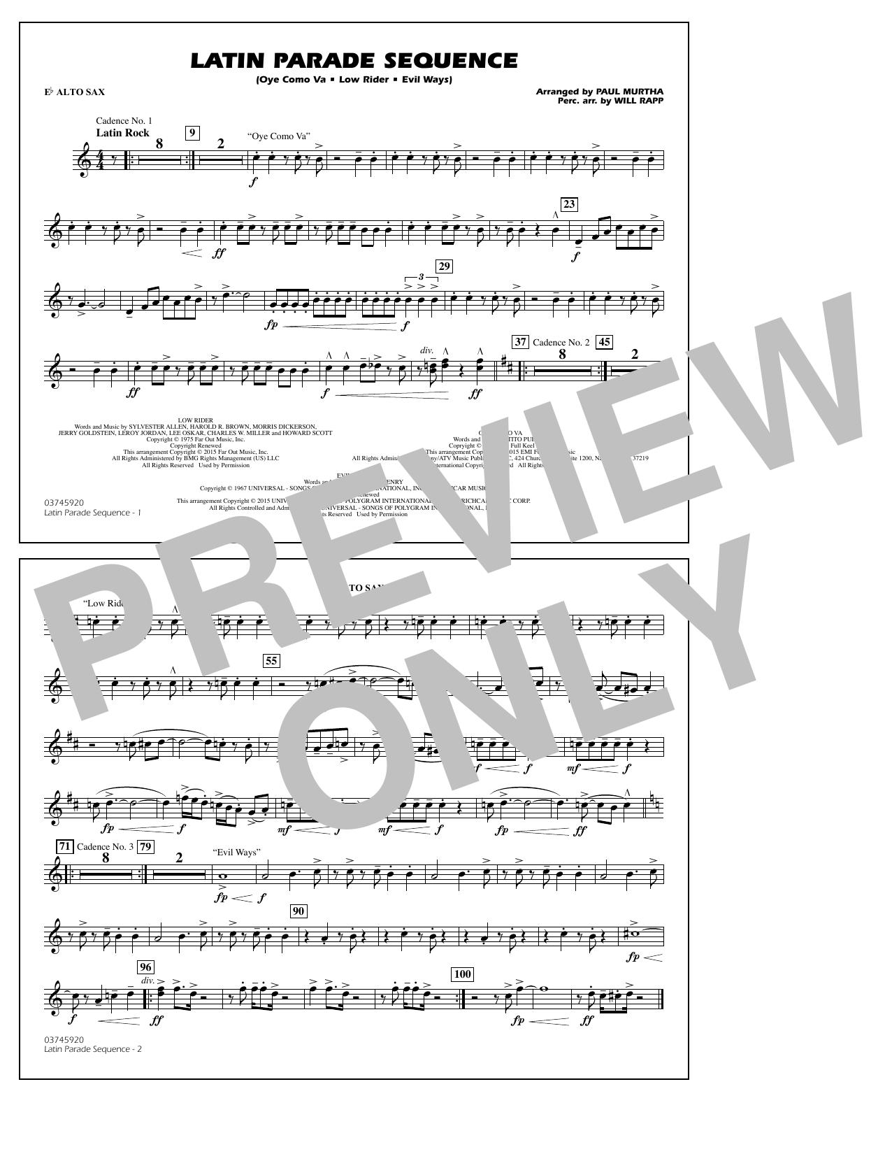 Latin Parade Sequence - Eb Alto Sax (Marching Band)