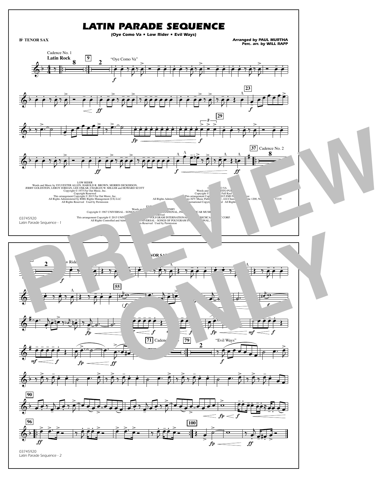 Latin Parade Sequence - Bb Tenor Sax (Marching Band)