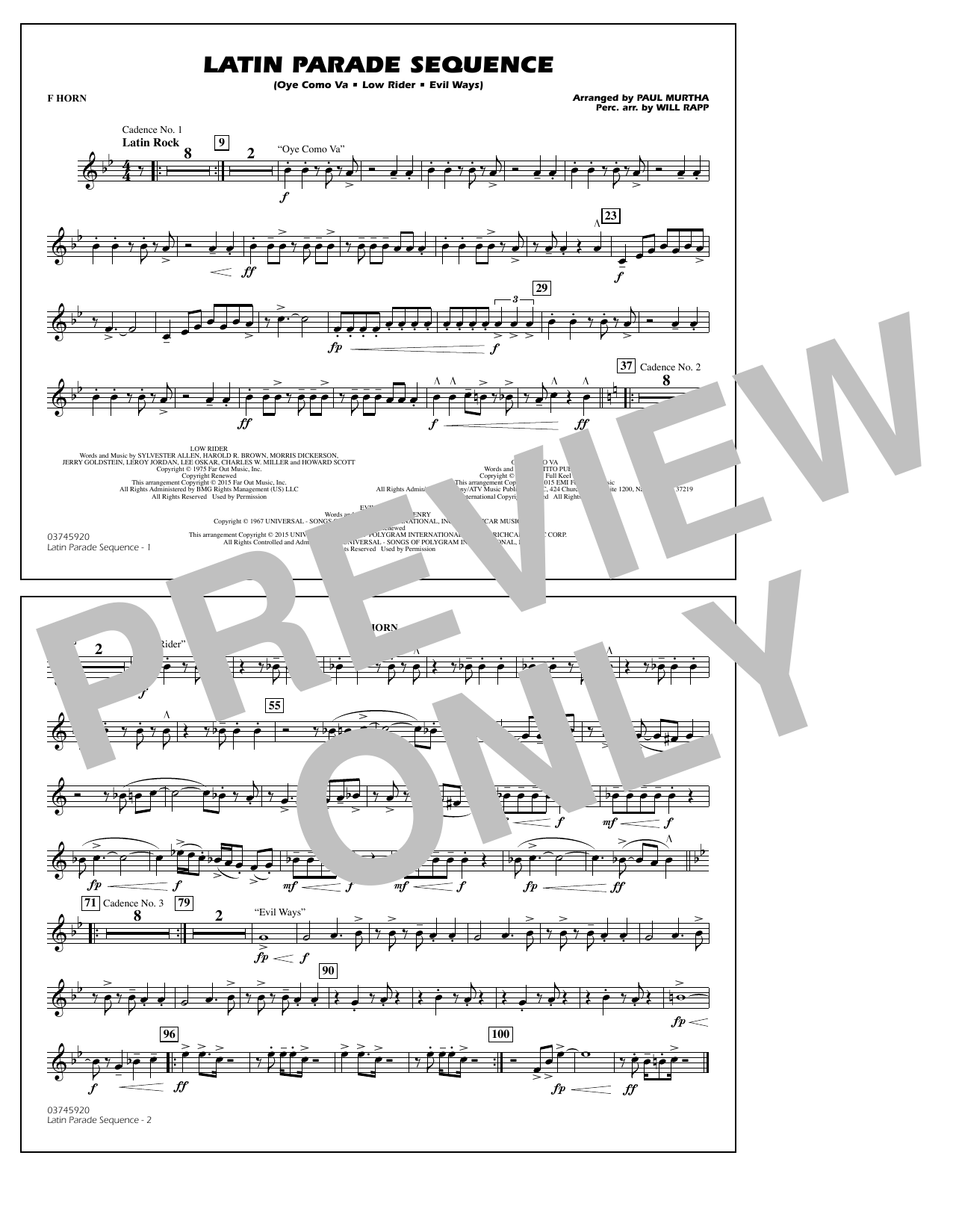 Latin Parade Sequence - F Horn (Marching Band)