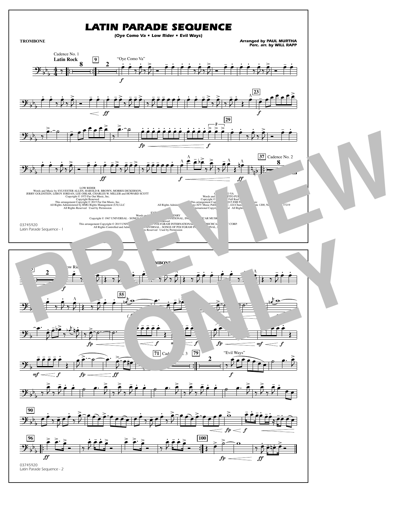 Latin Parade Sequence - Trombone (Marching Band)