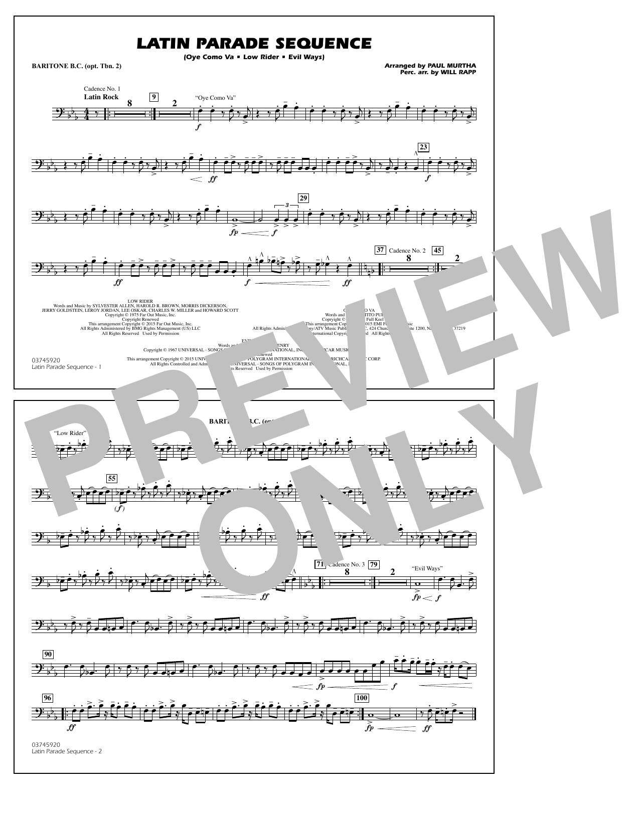 Latin Parade Sequence - Baritone B.C. (Opt. Tbn. 2) (Marching Band)
