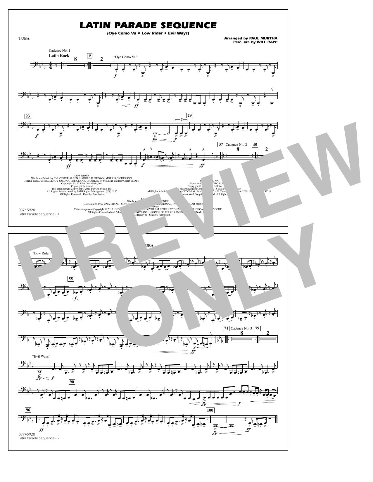Latin Parade Sequence - Tuba (Marching Band)