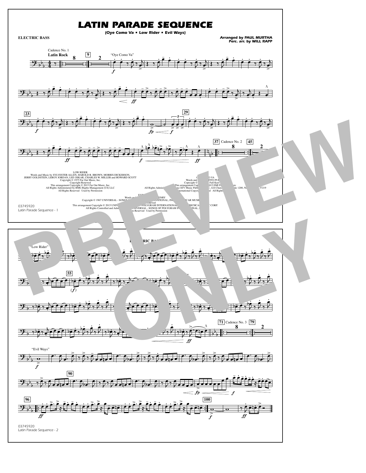Latin Parade Sequence - Electric Bass (Marching Band)