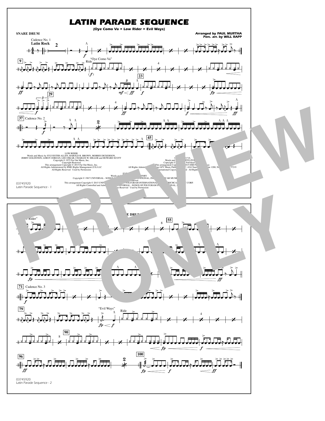 Latin Parade Sequence - Snare Drum (Marching Band)