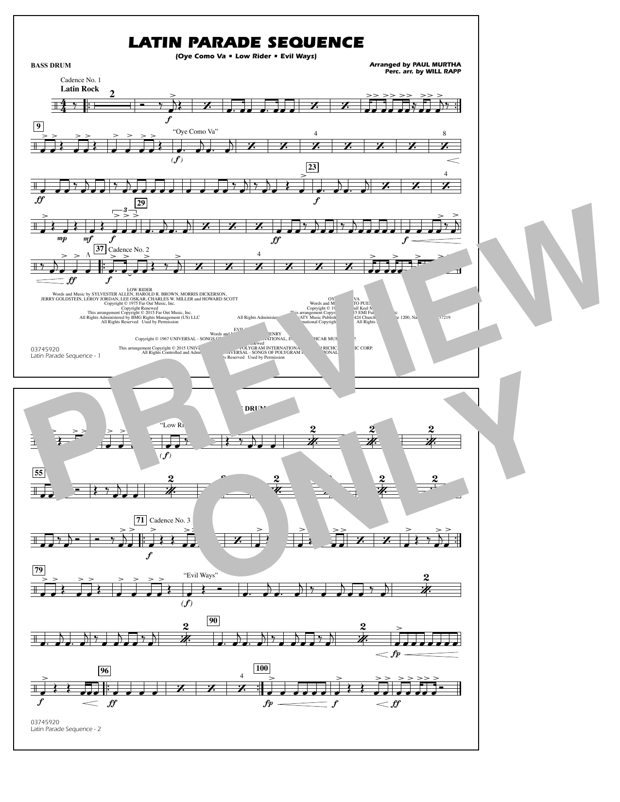 Latin Parade Sequence - Bass Drum (Marching Band)