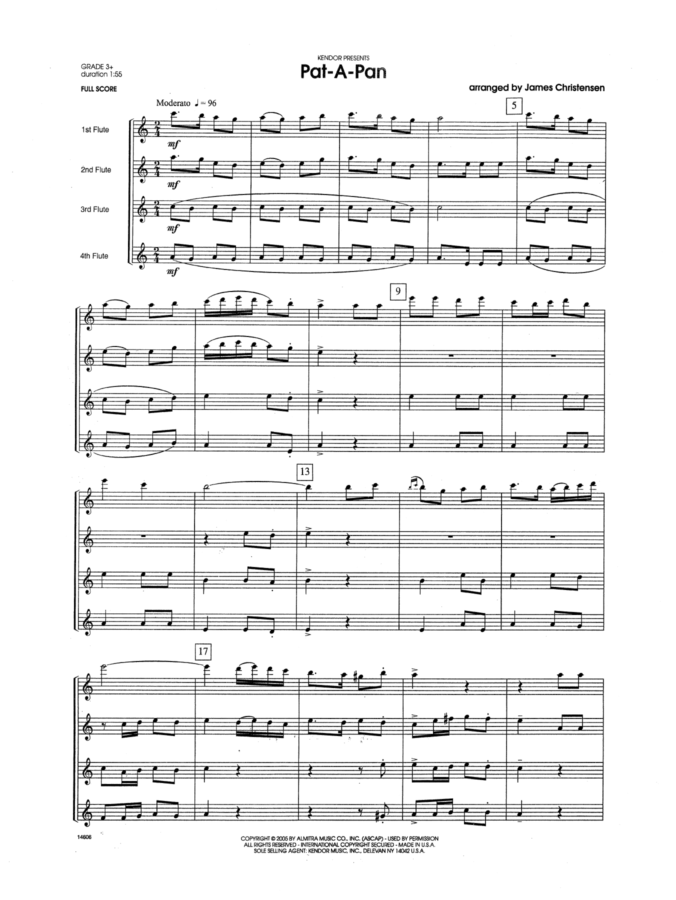 Pat-a-Pan (COMPLETE) sheet music for flute quartet by James Christensen. Score Image Preview.