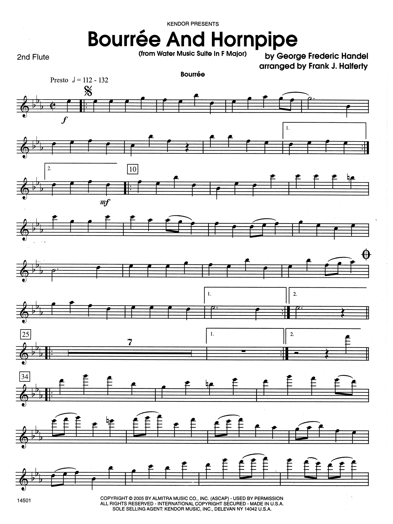 Bourree And Hornpipe (from Water Music Suite In F Major) - 2nd Flute Sheet Music