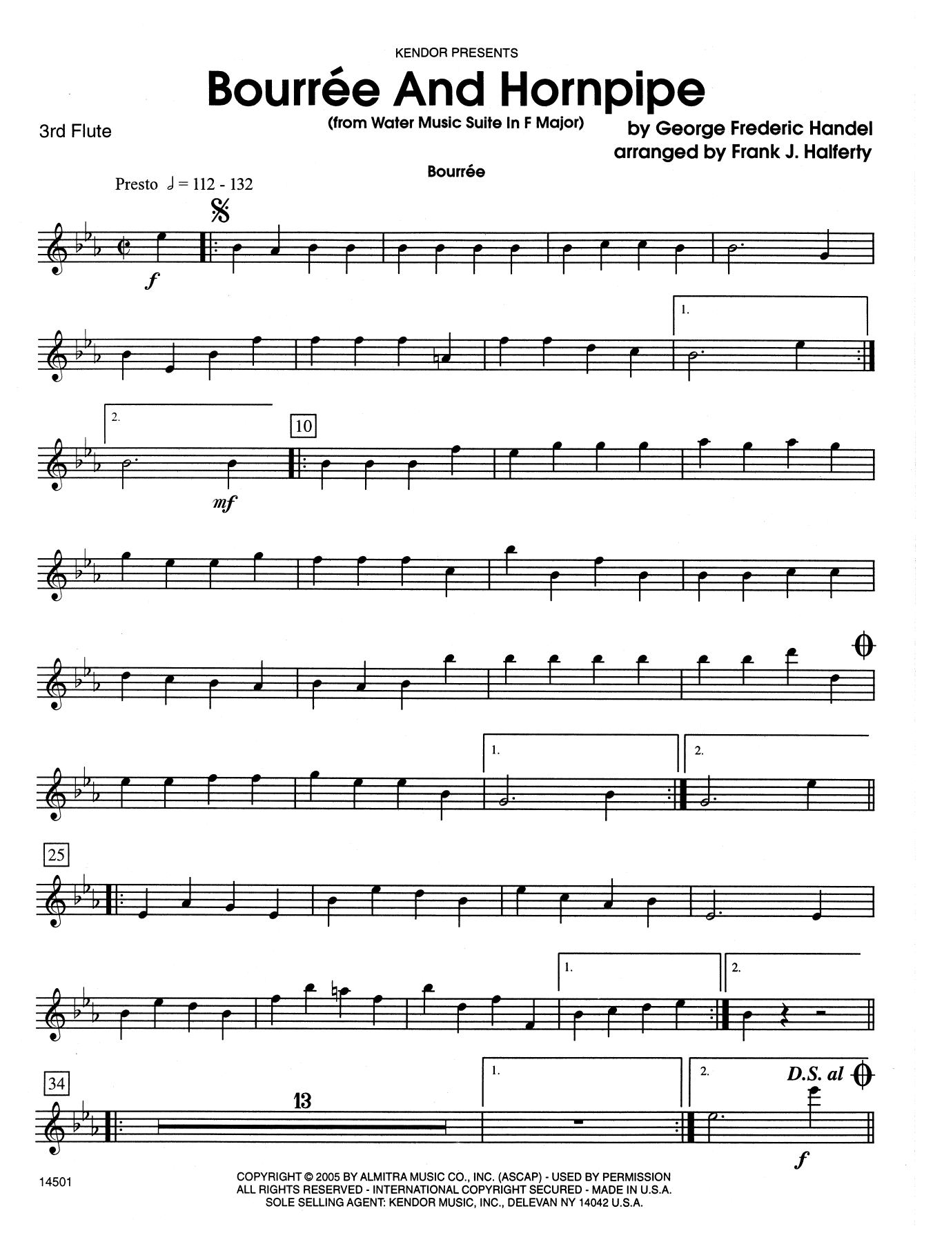 Bourree And Hornpipe (from Water Music Suite In F Major) - 3rd C Flute Sheet Music